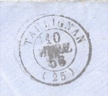 DROME 25 Env Vide Tad 15 Taulignan Du 10 Avril 1856 PC 3323 Sur N° 14 OR TB - 1849-1876: Période Classique
