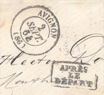 VAUCLUSE 86 Tad 15 Avignon Du 2 Septembre 1864 GC 260 Sur N° 22 Et APRES LE DEPART TTB - 1849-1876: Classic Period