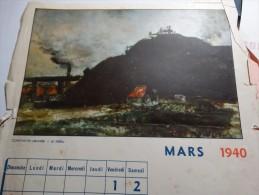 Page Calendrier Mars 1940 Des Ateliers De Constructions électriques De Charleroi(ACEC) - Calendriers