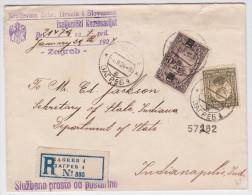 ZAGREB - Air Mail Cover 1924 To Indianapolis Via New York - Enveloppe Recommandée Yougoslavie - Hrvata Hrvatska Croatie - 1919-1929 Royaume Des Serbes, Croates & Slovènes