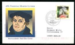"""First Day Cover Germany 1996 Mi.Nr.1841 Künstler Ersttagsbrief """"450.Todestag Von Martin Luther,Reformator """" 1 FDC,bef. - FDC: Buste"""