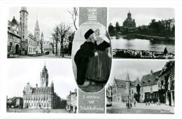 Groeten Uit Middelburg. 5 Zichten: Abdij, Bolwerk Met Oostkerk, Stadhuis, Balans, Kusje Van 2 Hollandse Kinderen Klompen - Middelburg