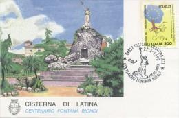 ITALIA - FDC MAXIMUM CARD 1990 - FONTANA BIONDI - ANNULLO SPECIALE CISTERNA DI LATINA - Cartoline Maximum