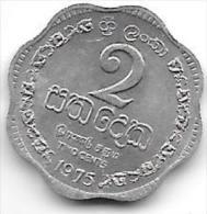*sri Lanka  2 Cents 1975  Km 138     Bu - Sri Lanka