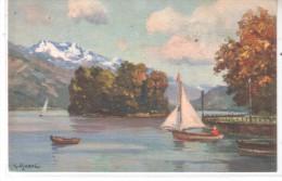 74 Annecy - L´Ile Des Cygnes Et La Tournette - Illustrateur Djarkeli  G. - Gravure Couleur Barque Voilier - CPA - Annecy