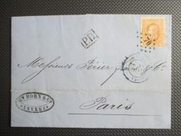 Nr 33 Op Brief Naar Parijs - PD In Kastje - 1869-1883 Leopold II