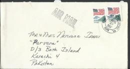 USA Airmail 1988 USA Flag Over Yosemite 25c Postal History Cover Sent To Pakistan. - Brieven En Documenten
