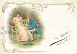 Chromo Gaufrée Carte Romantique Th. Buck Moulins Allier - Autres