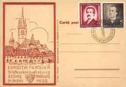 P817 Romania 1939 Medias Briefmarken Ausstellung, Philatelic Exhibition,special Cancel, Poet Eminescu, Mediasch, Medgyes - Postmark Collection