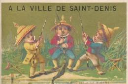 Chromo Dorée Humour Enfants à La Pêche Magasin A La Ville De Saint Denis Lithographie Minot - Autres