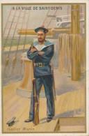 Chromo Dorée Fusilier Marin Magasin A La Ville De Saint Denis Lithographie Bellier - Autres