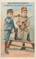 Chromo Enfant Déguisés En Militaire Berlingots Aysseric Le Clairon En Garde Lithographie Romanet - Autres