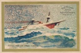 Chromo Dorée Navire Bateau Aviso Par Gros Temps - Magasi Chemiserie Du Patronomètre Paris - Autres