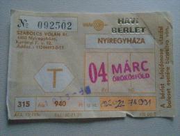 Hungary  Nyíregyháza  VOLÁN  Havi Bérlet - Monthly Ticket - Örökösföld    Bus Autobus   D137240.12 - Abbonamenti
