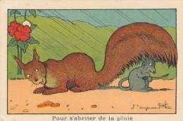 Chromo Illustrée Par Benjamin RABIER Pour S'abriter De La Pluie - Ecureuil - Souris - Autres