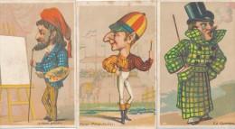 Lot De 3 Chromos Caricature Humour Peintre - Jockey - Aristocrate / Magasin Au Gagne-Petit Saint Denis - Autres