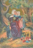Chromo XIXème Femme De La Feuillée Finistère Costume Et Coiffes Bretagne - Autres
