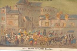 Chromo XIXème Porte De La Prison De Vannes Morbihan Costume Et Coiffes Bretagne - Autres