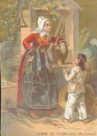Chromo XIXème Femme De Plumeliau Morbihan Costume Et Coiffes Bretagne - Autres