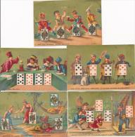 Lot De 5 Chromos Dorées Jeux De Cartes Enfants Humour - Autres