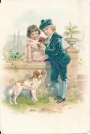 Chromo Gaufrée Romantique Jeunes Enfants Amoureux Et Chien - Autres