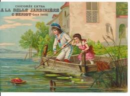 Grand Chromo XIXème Papier 13x18cm Scène Enfants Le Panier De Fruit à L'eau ! Chicorée BERIOT A La Belle Jardinière - Autres