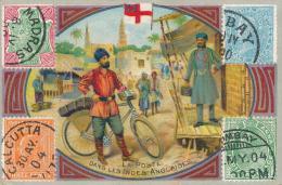 Chromo Biscuits Germain Lyon Timbres La Poste Dans Les Indes Anglaises - Snoepgoed & Koekjes