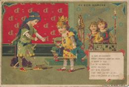 Chromo Dorée Au Bon Marché Le Bon Roi Dagobert Chanson Lithographie Minot - Au Bon Marché