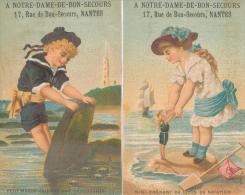 Lot De 2 Chromos Dorées Enfants Bords De Mer Magasin Notre Dame Du Bon Secours à Nantes - Autres