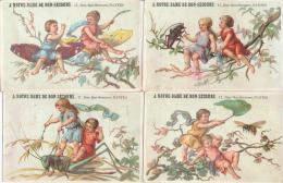 Lot De 4 Chromos Dorées Enfants Et Insectes Art Nouveau Magasin Notre Dame Du Bon Secours à Nantes - Autres