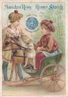 Superbe Chromo Amidon Remy Enfants Attelage Cheval Et Chien - Autres