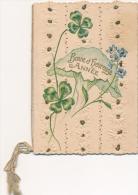Carte De Voeux Chromo Trèfles à 4 Feuilles Gaufrée Bonne Et Heureuse Année - Sonstige