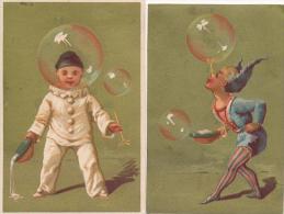 Lot De 2 Chromos Dorées Bulles Cirque Pierrot Enfants Librairie Lebrault Le Mans - Autres