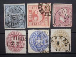 AD Mix 1850 - 1862 Mi.Nr.1,9,10,16,17,18 Gestempelt KW 80,-      (M158) - Deutschland