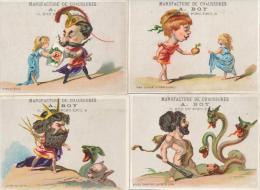 Lot De 4 Chromos Caricature Humour Magasin Chaussures Boy Le Mans Mythologie - Autres