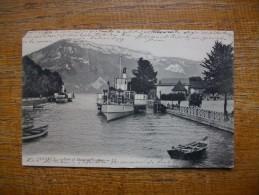 """Carte Assez Rare , Annecy , Le Port Et Le Mont Veyrier """""""" Carte Animée En 1907 """""""" - Annecy"""