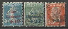 France - Caisse D'amortissement - Semeuse + Pasteur - N) 246 à 248