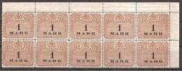 = Stempelmarke 1 Mark ** = 10er - Blocks & Kleinbögen