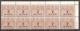 = Stempelmarke 2 Mark ** = 10er - Blocks & Kleinbögen