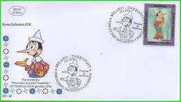 EMA Pinocchio E Chiudilettere Ufficiale 34° Pantheon Timbro Meccanografico - Etichette Di Fantasia