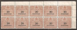 = Stempelmarke 20 Pfennig ** = 10er - Blocks & Kleinbögen