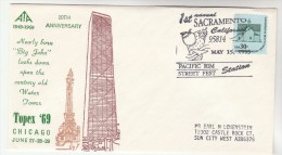 1993 USA COVER Stamps  EVENT  Pmk SACREMENTO  PACIFIC REM STREET FESTIVAL On 1969 TOPEX Chicago WATER TOWER - United States