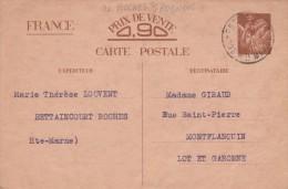 Entier Postal Carte Sans Valeur CP2 Iris 14/8/1941 De Roches Sur Rognon Haute Marne à Monflanquin Lot Et Garonne - Postwaardestukken