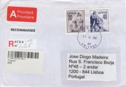 Latvia Registered Cover To Portugal - Latvia