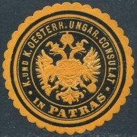 Austria-Hungary Österreich-Ungarn PATRAS Greece Griechenland CONSULAT Consular Letter Seal Siegelmarke Vignette - Austria