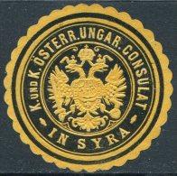 Austria-Hungary Österreich-Ungarn SYRA Syros Siros Island Greece CONSULAT Consular Letter Seal Siegelmarke Vignette - Austria