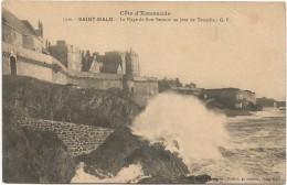 I3985 Saint Malo - La Plage De Bon - Secours Un Jour De Tempete / Non Viaggiata - Saint Malo