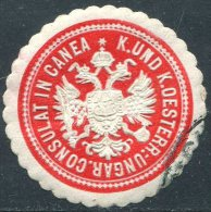 Austria-Hungary Österreich CANEA Chania Crete Kreta Creta Greece CONSULAT Consular Letter Seal Siegelmarke Vignette T.1a - Austria