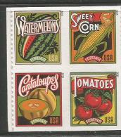 ETATS-UNIS. Summer Harvest.FRUITS D'�T�. (corn, tomatoes, cantaloupes, & watermelons). 4 TIMBRES NEUFS **