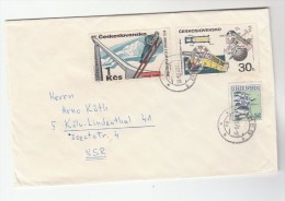 1970 CZECHOSLOVAKIA COVER  Stamps 1k SKI JUMPING Sport 30h CANNON  Skiing - FDC